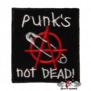 Нашивка вышитая Punks Not Dead булавка