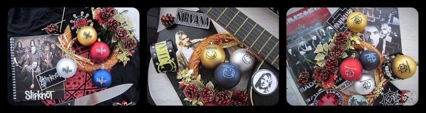 Новогодние шары с логотипами рок-групп